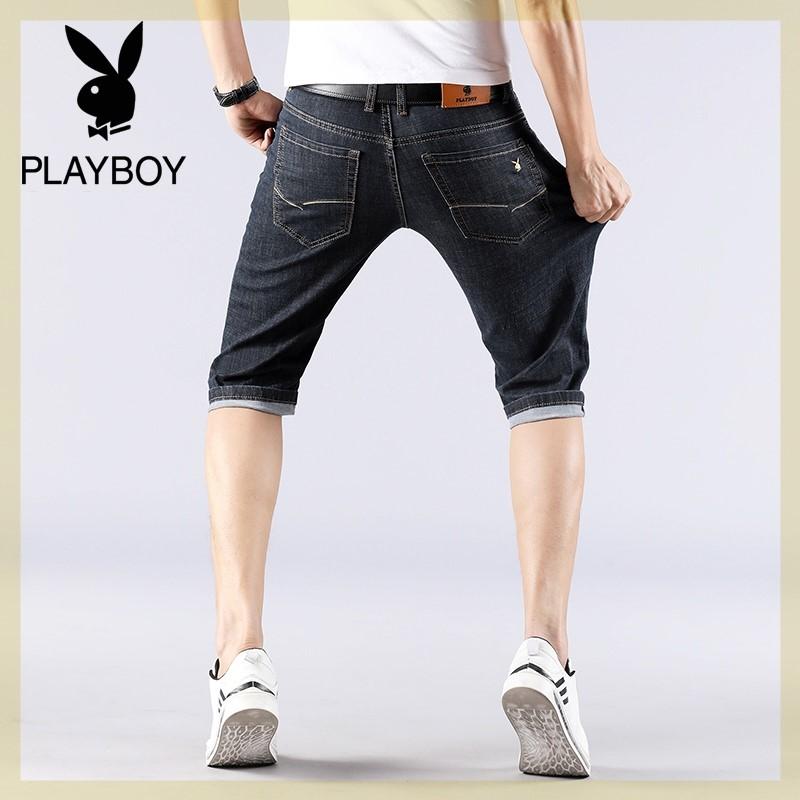 プレイボーイの7分のジーパンの男性の黒いズボンの綿のビジネスの32ヤードの修身男性の耐摩耗溥簿のショートパンツ
