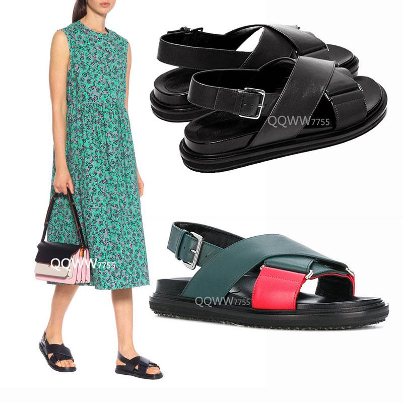 网红款真皮舒适凉鞋女露趾韩版厚底休闲时尚复古沙滩鞋运动平底鞋
