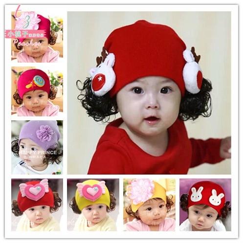 Baby Hat spring and autumn women 0-1-2 years old children Princess wig hat Korean version winter cotton baby wool hat trend