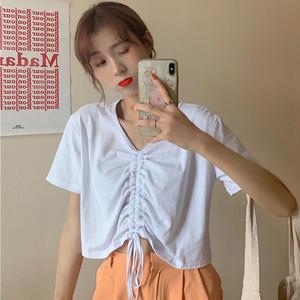 白色短袖女夏宽松设计感小众潮t恤