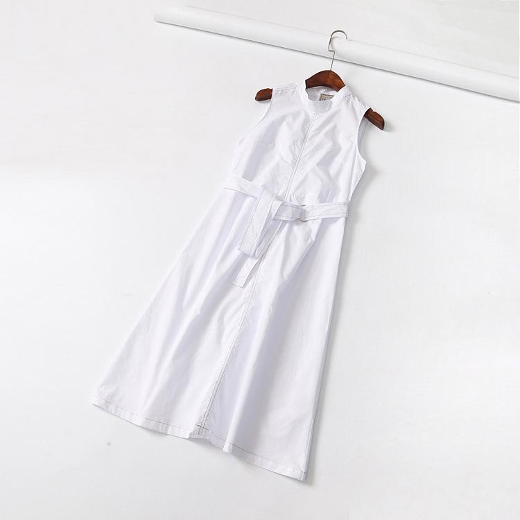 推荐 2018夏欧美女装简洁高雅气质腰带明线高腰无袖中长款连衣裙