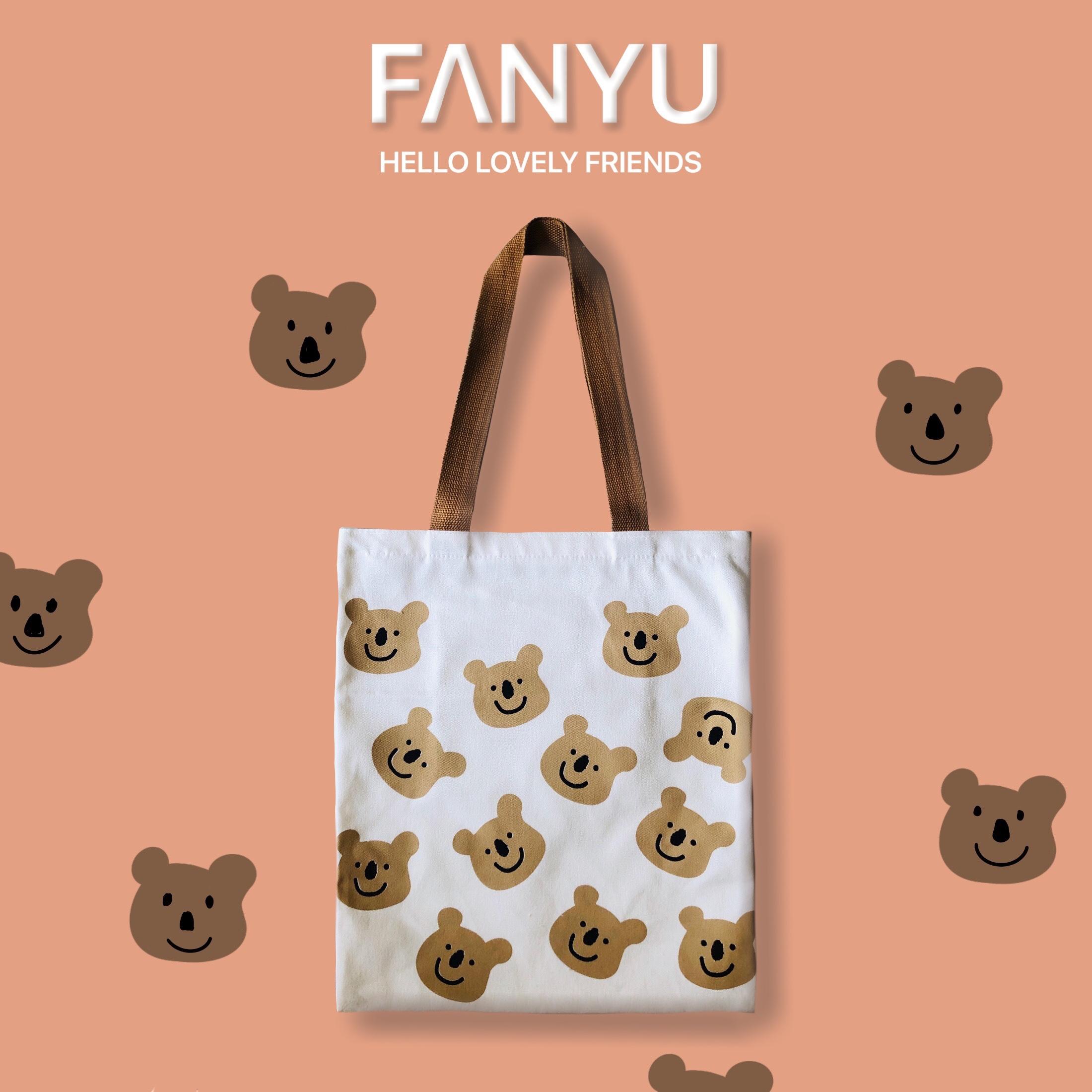 fanyu2020新款ins韩风帆布包女单肩购物袋百搭卡通学生文艺女包