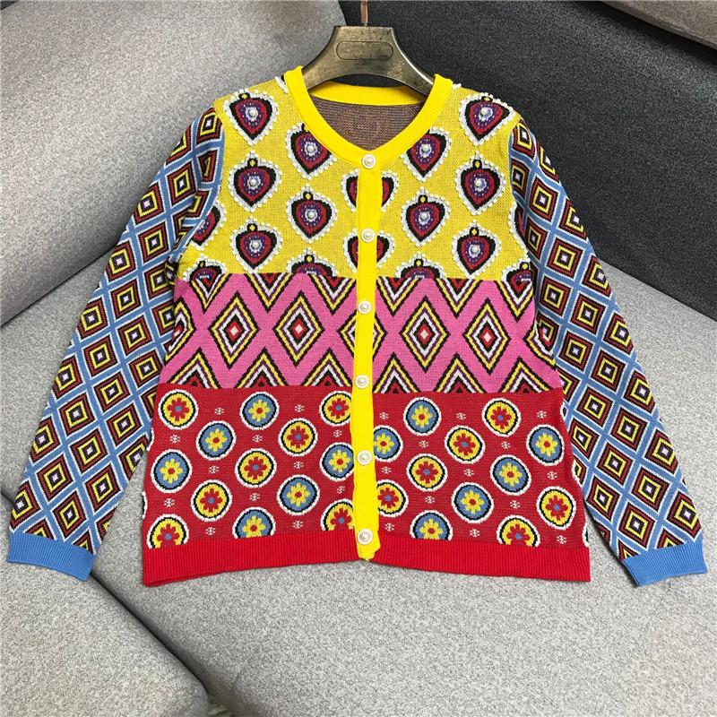 重工绣珠复古风针织开衫女2019秋冬新款欧美走秀气质时尚毛衣外套
