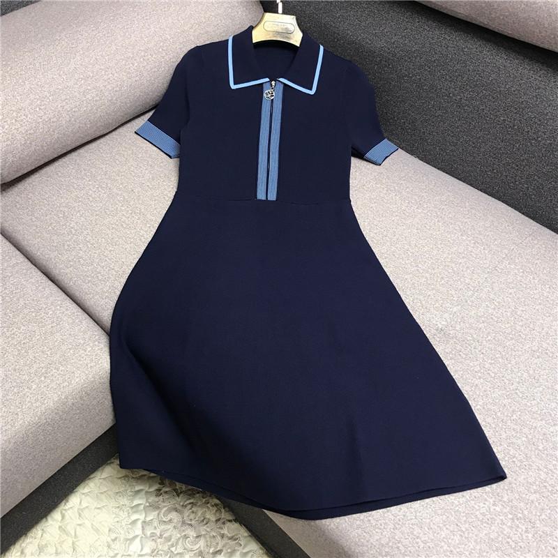 10月10日最新优惠夏季法国小众连衣裙女收腰显瘦时尚polo领针织短袖法式气质桔梗裙