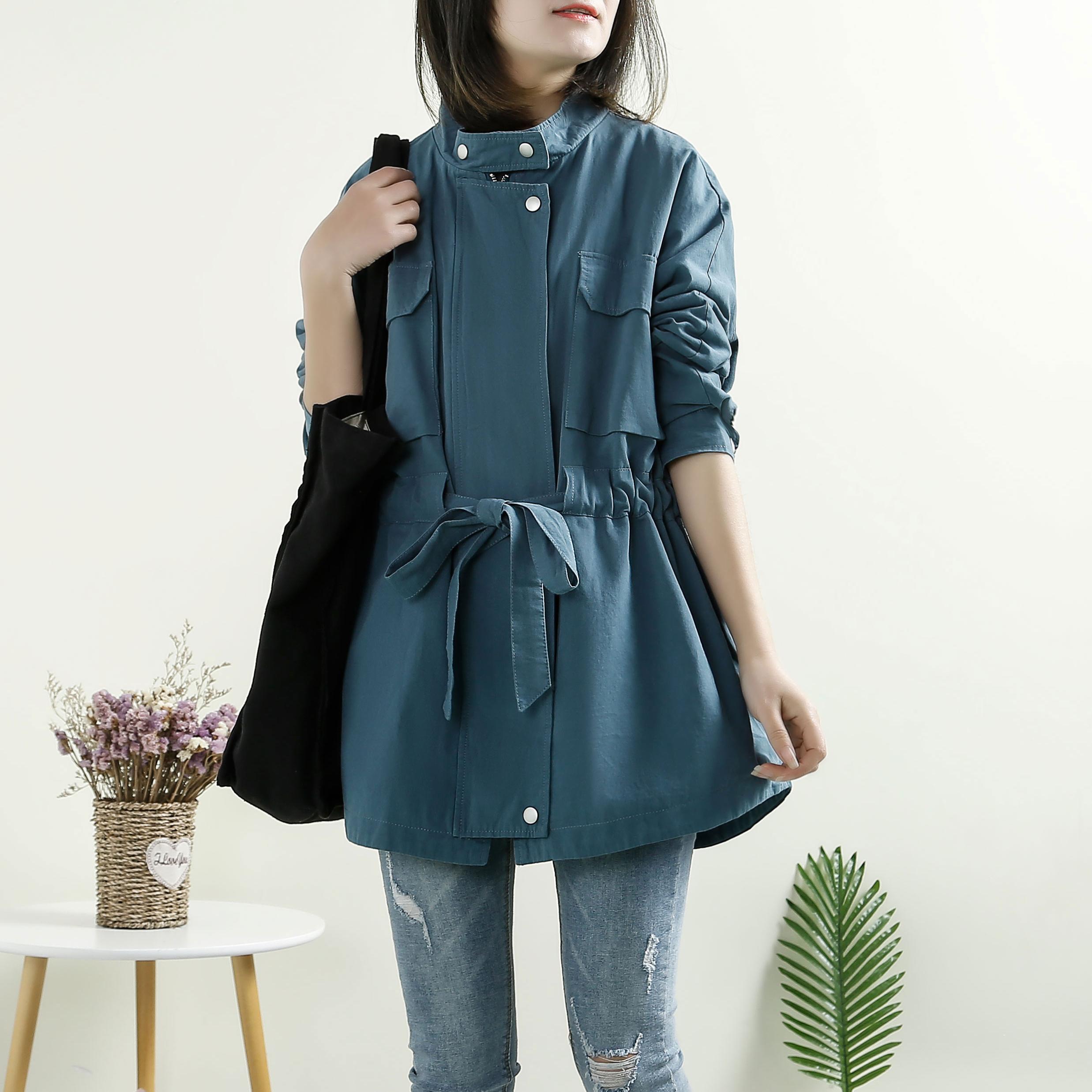 韩版系带收腰中长款风衣外套女春秋2021新款显瘦百搭小个子上衣潮