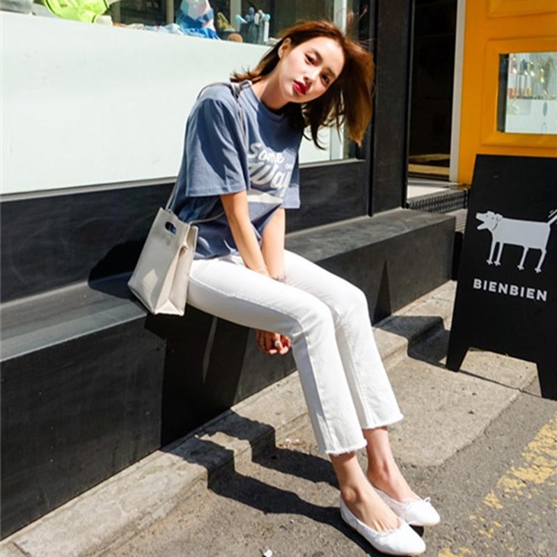 韩国夏季新款黑色白色微喇叭八分九分牛仔裤高腰弹力女显瘦百搭潮
