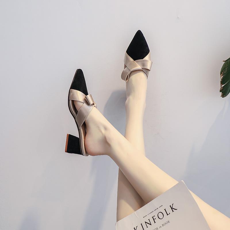 2020年夏季新款时尚尖头中跟粗跟包头凉鞋半拖鞋女外穿高跟凉拖鞋