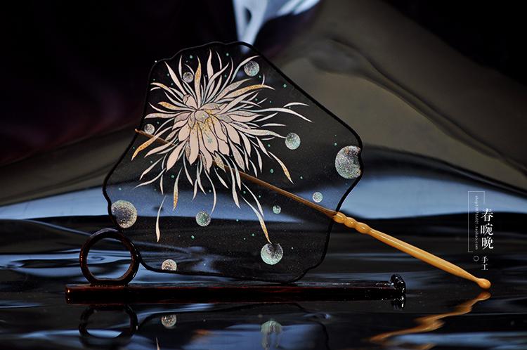 新品【暗黑系】原创设计手工手绘古风透明团扇宫扇汉服礼物送老外