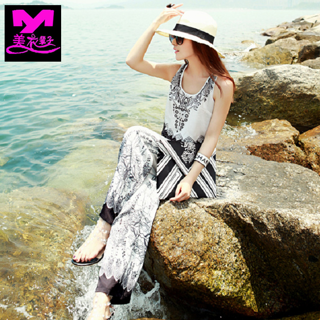 Bohemian Beach Resort Beach Jumpsuit suspender beach Jumpsuit large size Jumpsuit wide leg pants pants woman