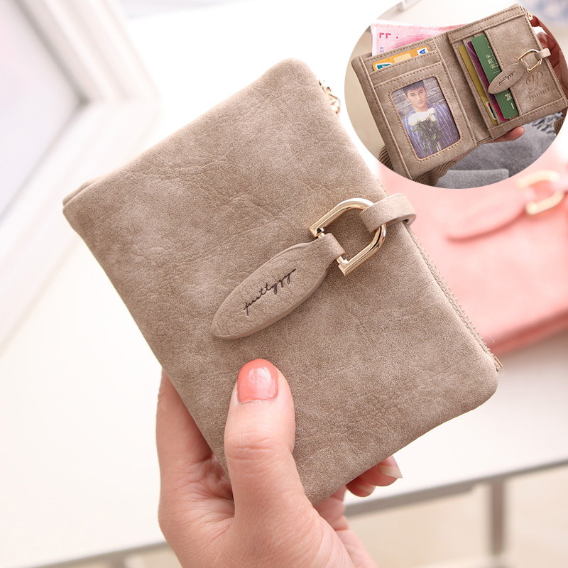 Purse women short zero purse zipper new Korean fashion personality multi function student retro frosted soft leather wallet