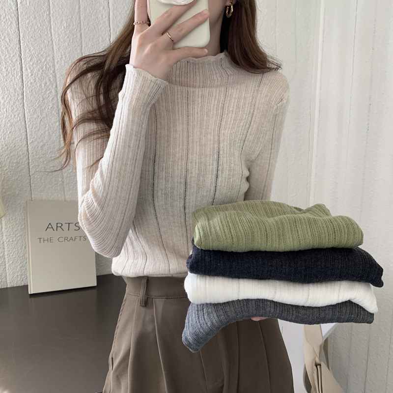 Counter shopping mall withdraws womens clothing autumn and winter Korean version, with long sleeved sweater, soft waxy wool semi high neck knitted bottomed blouse