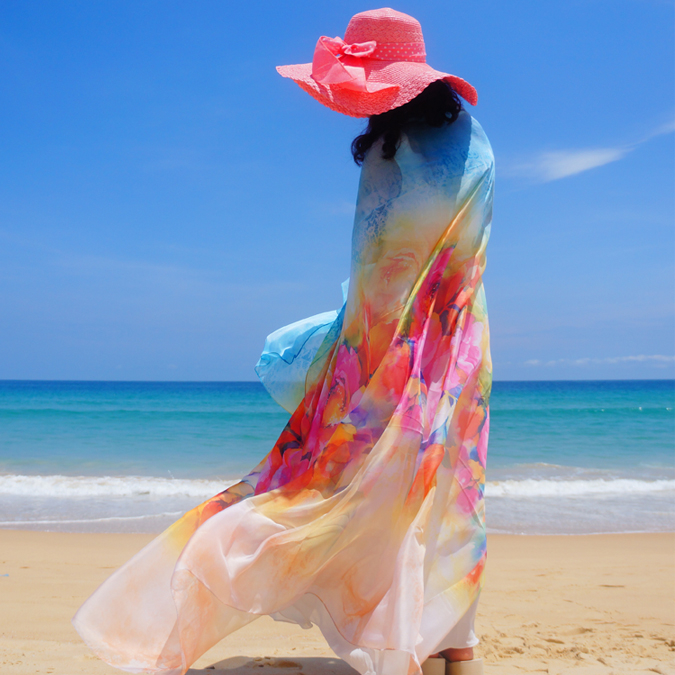 Summer oversized beach towel women beach sun protection shawl scarf holiday Chiffon dual purpose thin scarves thailand tourism