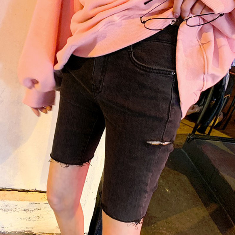 Spring and summer 2021 new elegant black denim shorts womens hole elastic tights Korean riding Capris