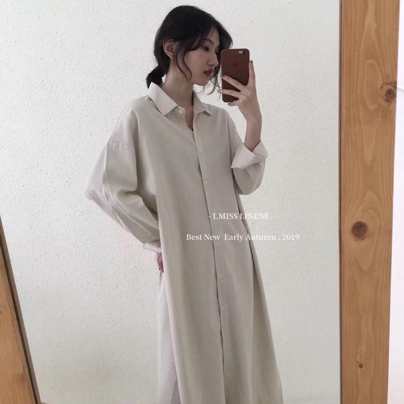 (用1元券)F and Z懒人裙 出门不花心思搭配的简约纯色直筒衬衫连衣裙