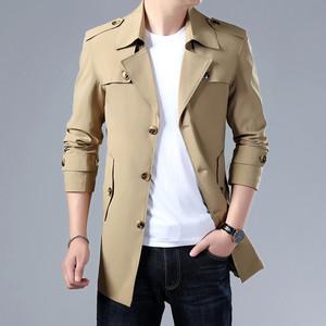 春秋薄款风衣男秋冬季商务男夹克韩版中长款上衣潮流男装加绒外套