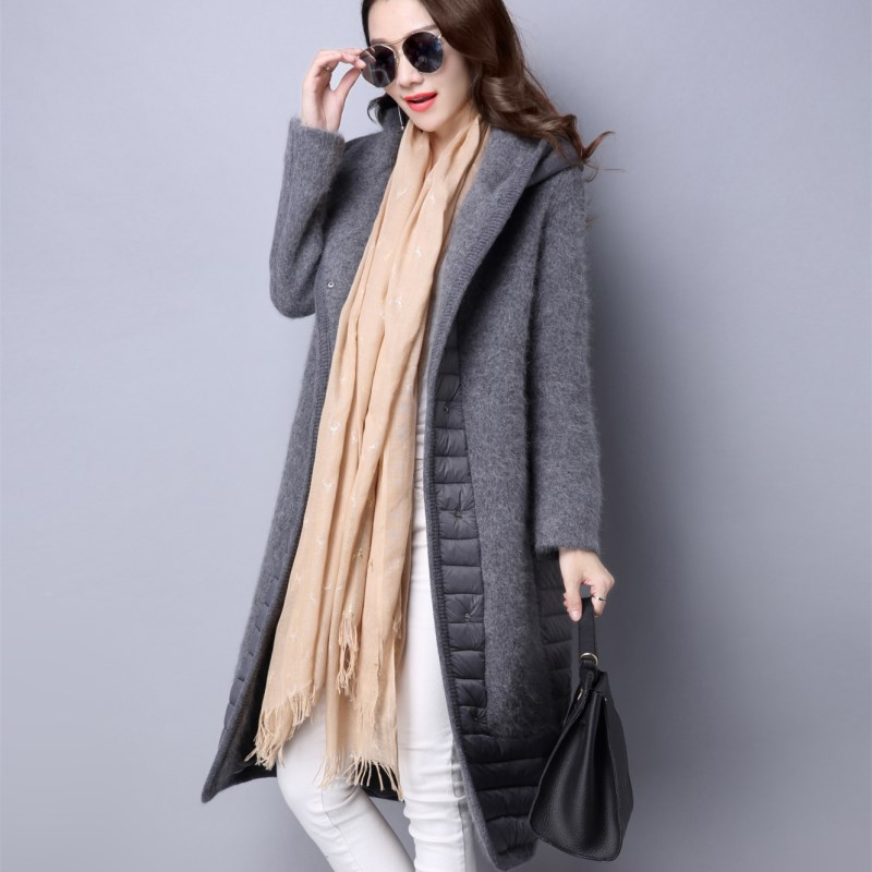 Winter new 2019 fashion womens middle and long straight tube slim hooded mink coat and down jacket