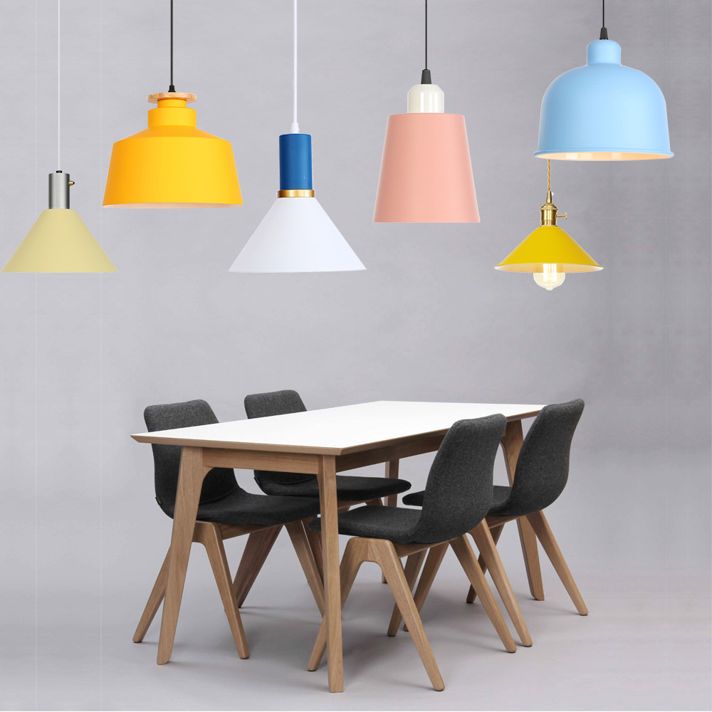 Nordic restaurant chandelier single head simple modern bar lighting clothing store lamps creative color makaron lamp