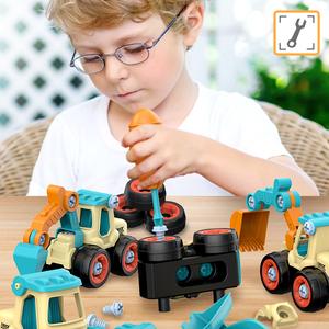 儿童拼装工程车挖掘机可拆卸套装拧螺丝刀益智男孩拆装组装玩具车