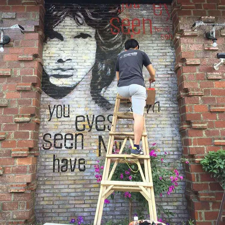 森林画手绘彩绘游乐场背景墙壁画墙绘墙体上门绘画画师绘制情景画