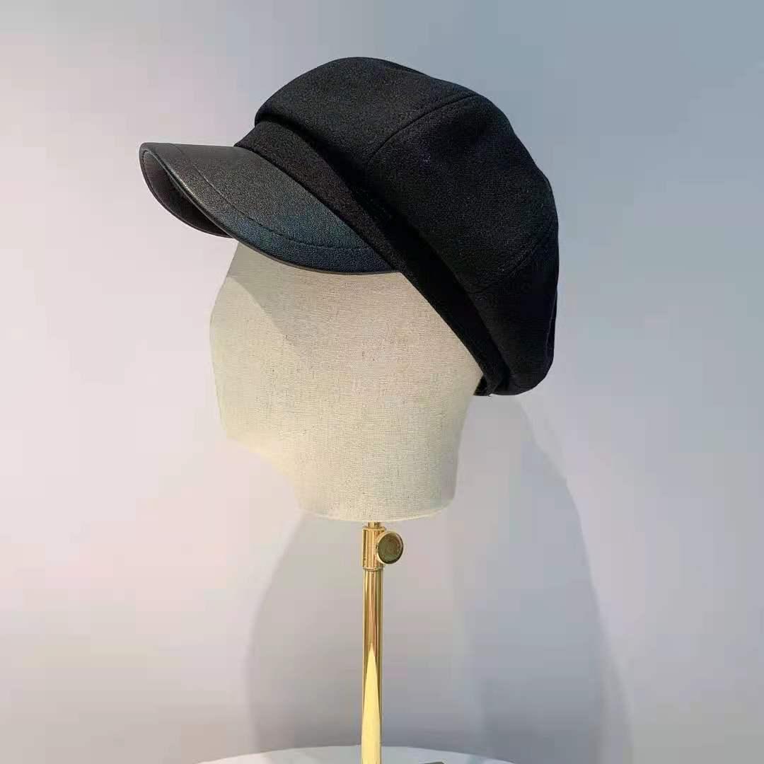 Paris autumn and winter fashion leisure color matching tide dome short brim foreign style pumpkin hat octagonal Hat Womens hat