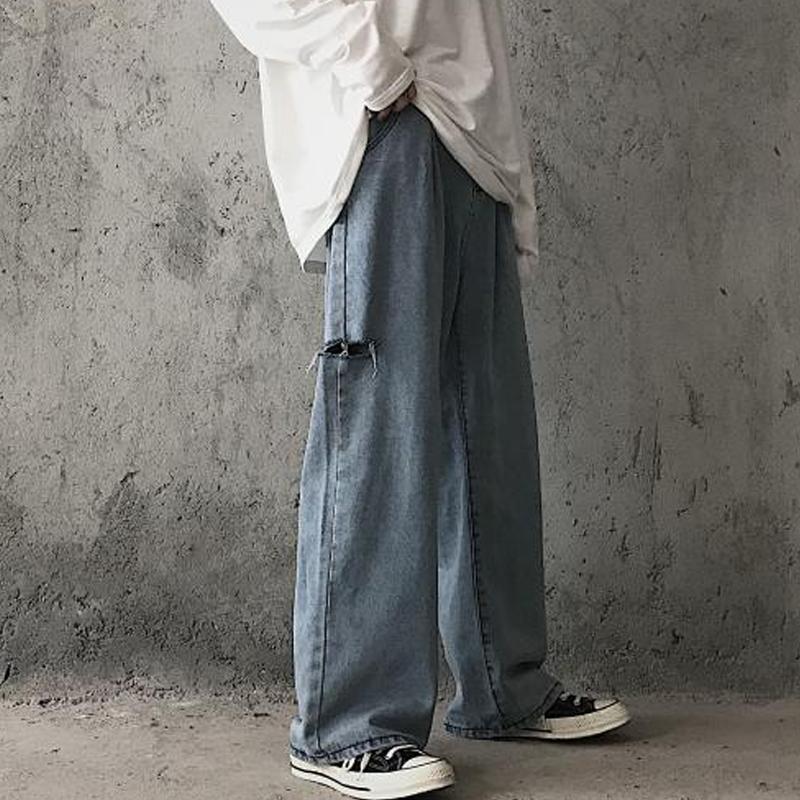 裤子ins超火破洞拖地牛仔裤女高腰显瘦直筒宽松网红老爹阔腿裤潮图片