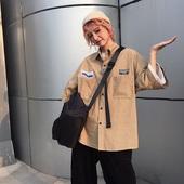 衬衣短袖 女洋气百搭宽松外套上衣学生 衬衫 韩版 夏季 ins风复古工装