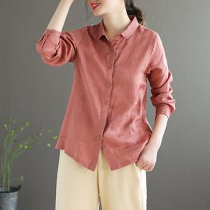 代勒原创文艺基础款亚麻衬衣单排扣苎麻衬衫女士宽松百搭棉麻上衣