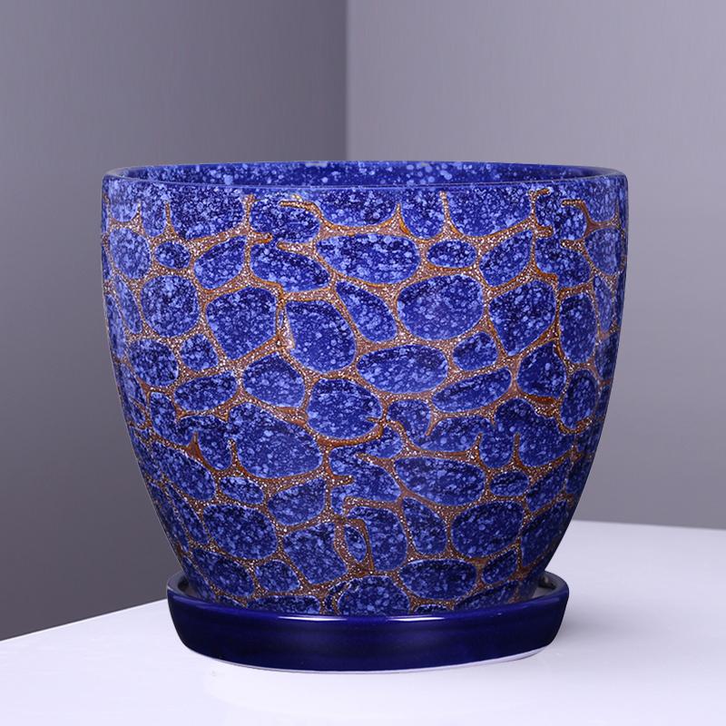口径25厘米花盆陶瓷带托盘高档大号孔雀蓝客厅阳台多肉盆简约包邮