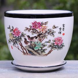 中国风花盆陶瓷带托盘 特大号个性绿植创意室内阳台多肉植物盆栽