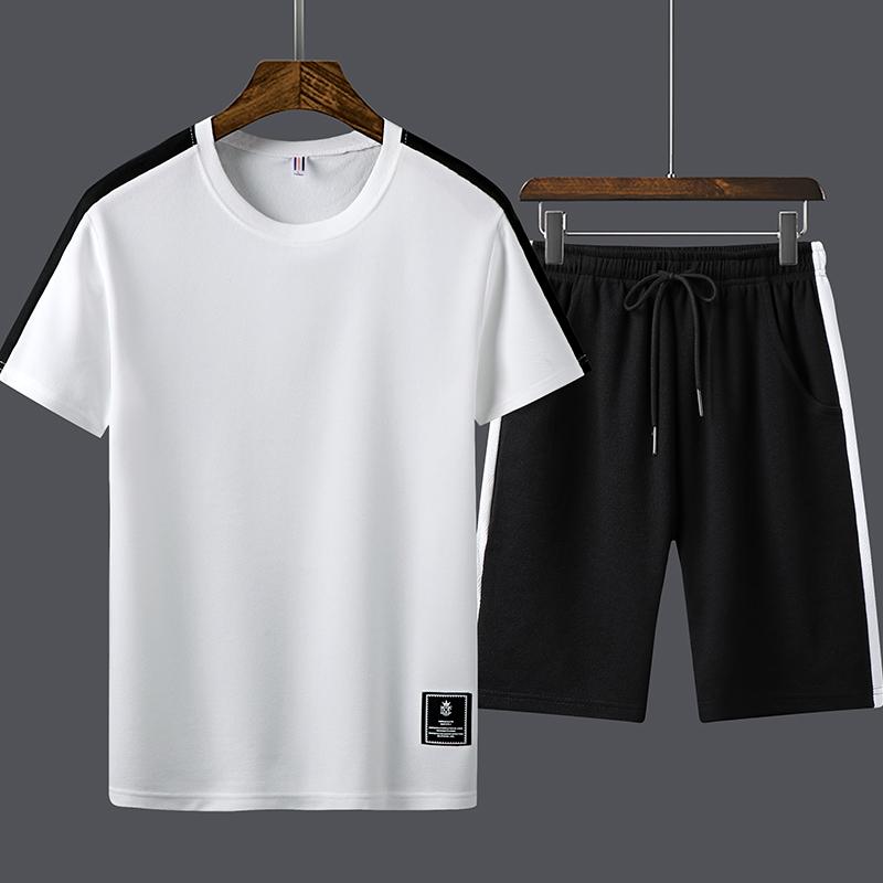 Plover运动套装男夏季纯棉短裤短袖T恤跑步服两件套休闲男装套装