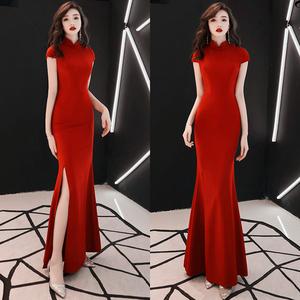 女2021新款复古气质旗袍高贵晚礼服