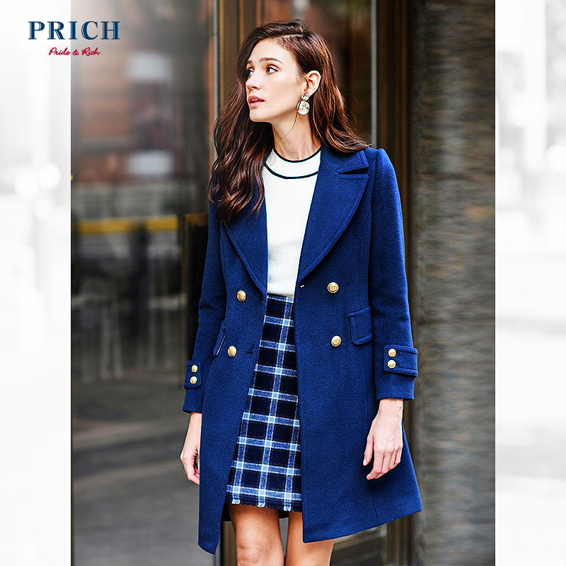 Prich women's autumn and winter new Korean slim woolen coat long woolen coat women's prjw87t03c