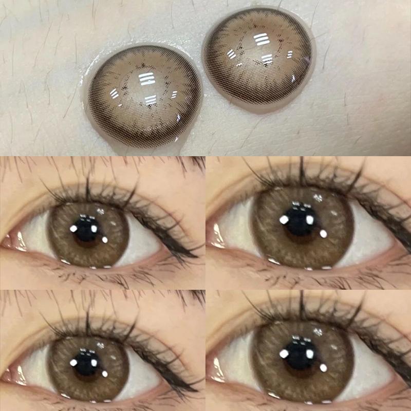 奶栗子棕色美瞳年抛女大直径混血半年抛月抛日抛隐形眼镜盒艾魅JL
