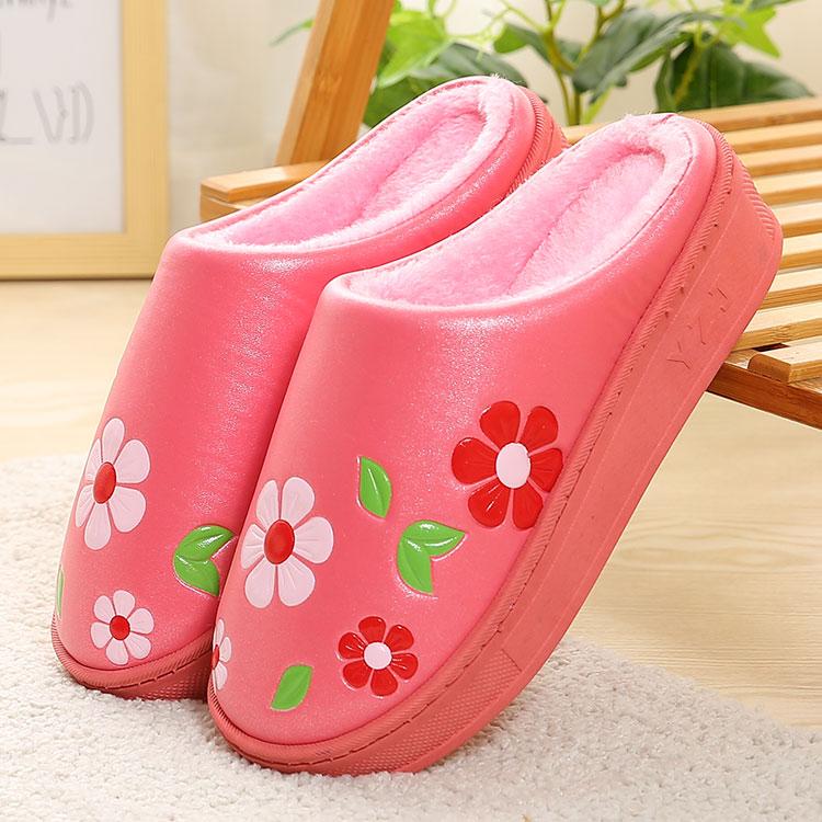 黑色高跟棉拖鞋女冬季厚底坡跟室内居家皮面PU防水冬天月子鞋可爱