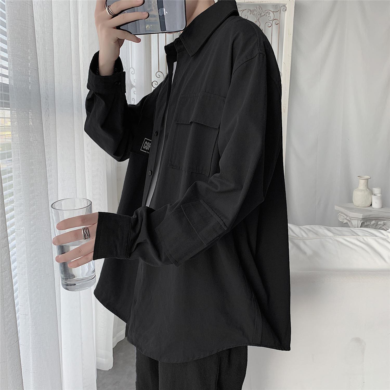 黑色衬衫男长袖港风日系韩版潮流帅气休闲短袖衬衣男士宽松外套男图片