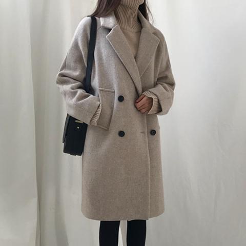 秋冬季加棉加厚毛呢外套女大衣中长款学生流行赫本风宽松韩版呢子