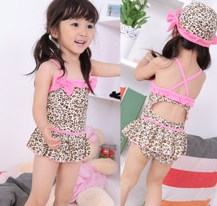 2014 new children s swimsuit girls big boy children in child big Siamese baby leopard swimsuit Spa