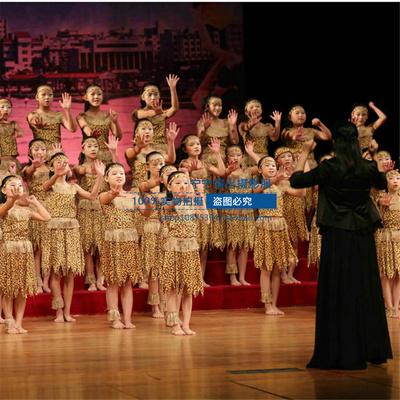 猎人演出服装 原始森林野人表演服 印地安人儿童演出服装 舞蹈服