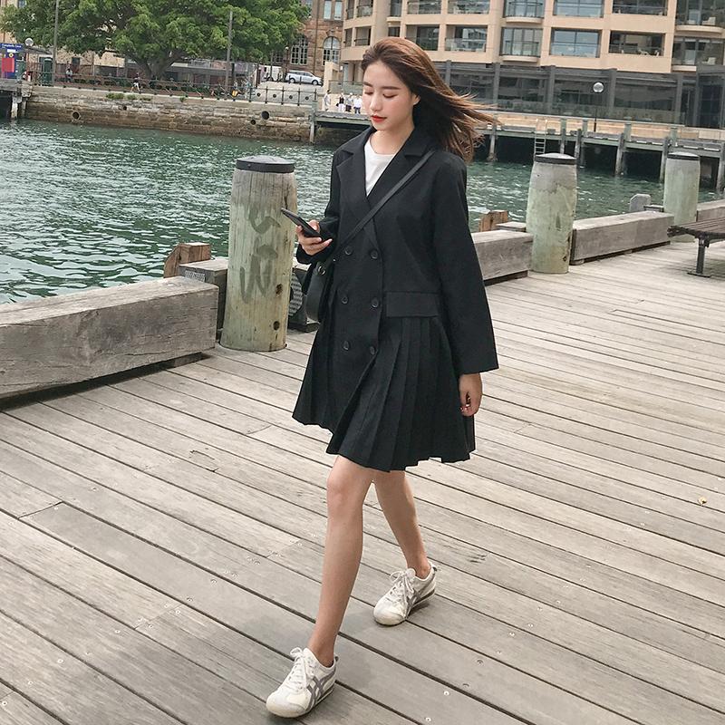 2019春季新款韩版复古气质西装裙女学生宽松休闲百褶连衣裙式外套