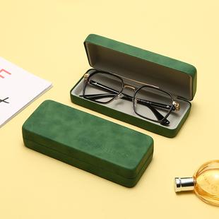复古褶皱皮革近视眼镜盒女简约墨镜太阳镜盒便携清晰眼镜皮盒潮男