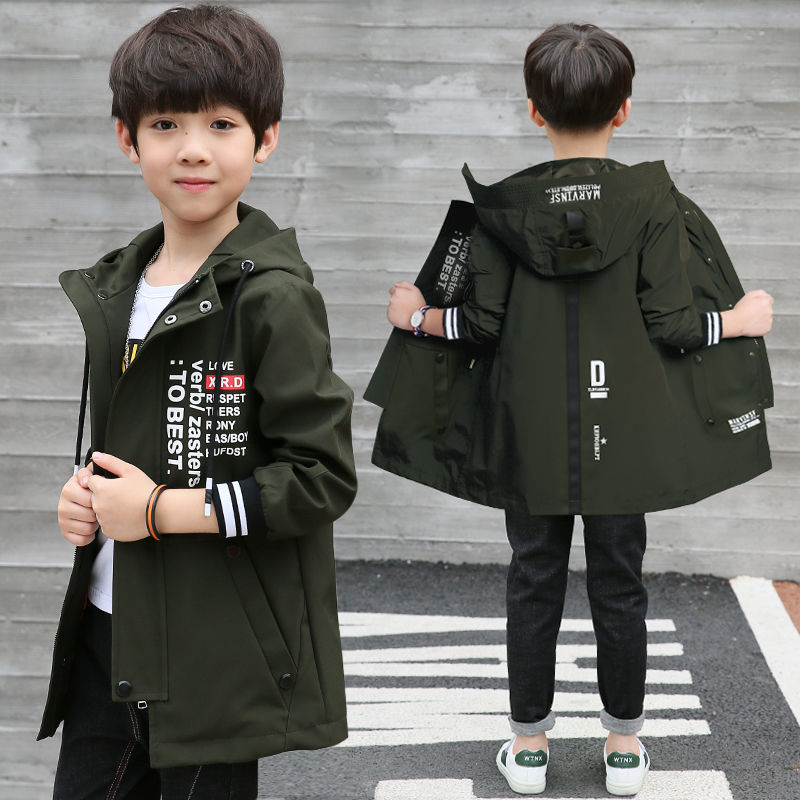 Boys 5-year-old jacket 6 medium length 7 hooded spring and autumn day 8 coat 9 primary school students 10 middle school children 12 clothes 4