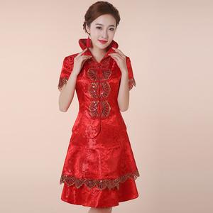 秀禾服新娘敬酒服红色喜庆婚纱连衣裙酒店服务员大码女装显瘦