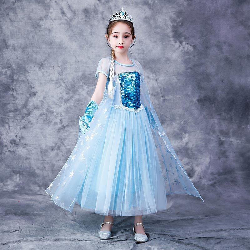 在逃公主风连衣裙夏儿童冰雪奇缘艾莎公主裙女童裙白雪公主表演裙