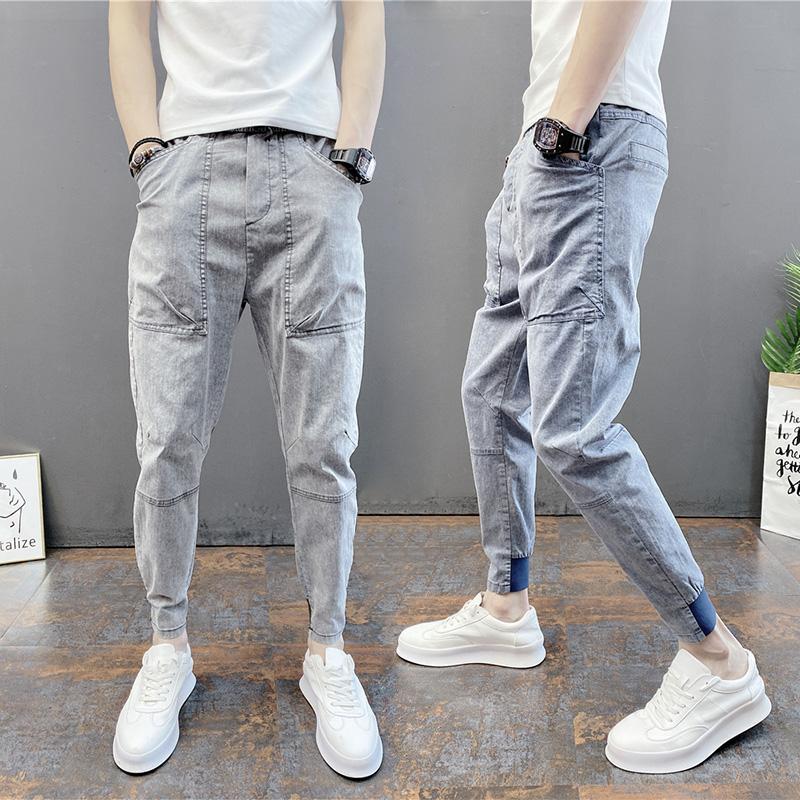 夏季男士薄款小脚休闲牛仔裤纯色弹力束脚裤精神小伙束脚潮流男裤图片