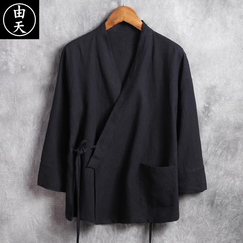 中国风亚麻汉服男装中式改良唐装男士青年潮流复古风棉麻上衣古装