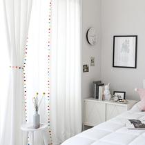 窗帘窗纱纱帘透光不透人少女毛球白纱卧室客厅抖音网红卧室客厅纱