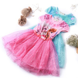 A summer romance Snow Princess Dress Girls Dress children short sleeved cotton gauze dress Princess Elsa