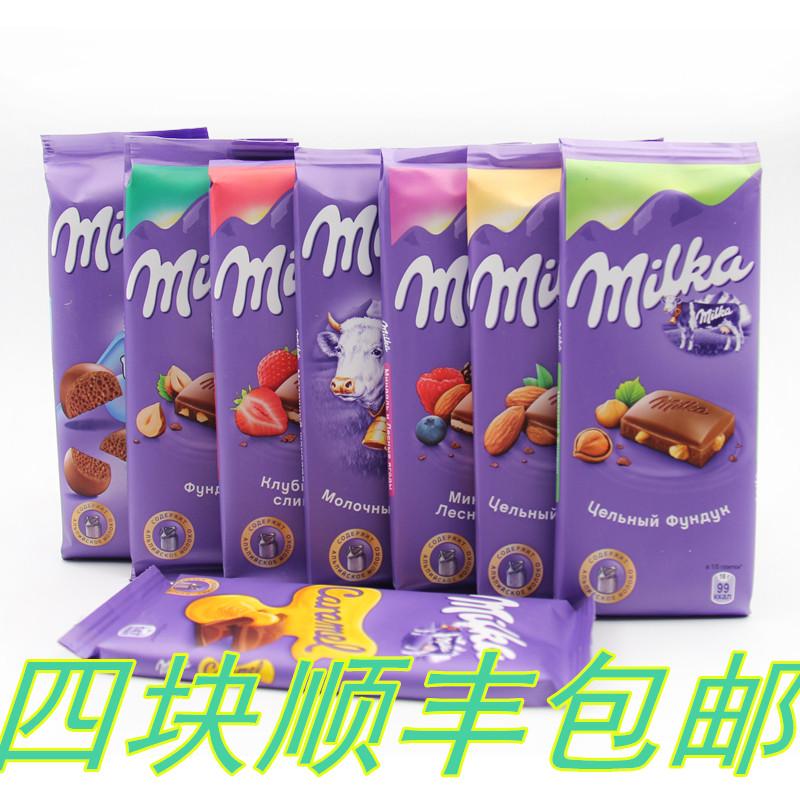 Russia imports chocolate, Germany Milka large plate hazelnut milk sandwich miaoka honeycomb bubble chocolate