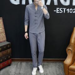 中国风青年亚麻七分袖套装T恤男九分裤大码棉麻套装A112-T733-P60