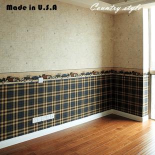 卧室墙纸地图格子汽车男孩英伦原装进口儿童房壁纸美式乡村复古